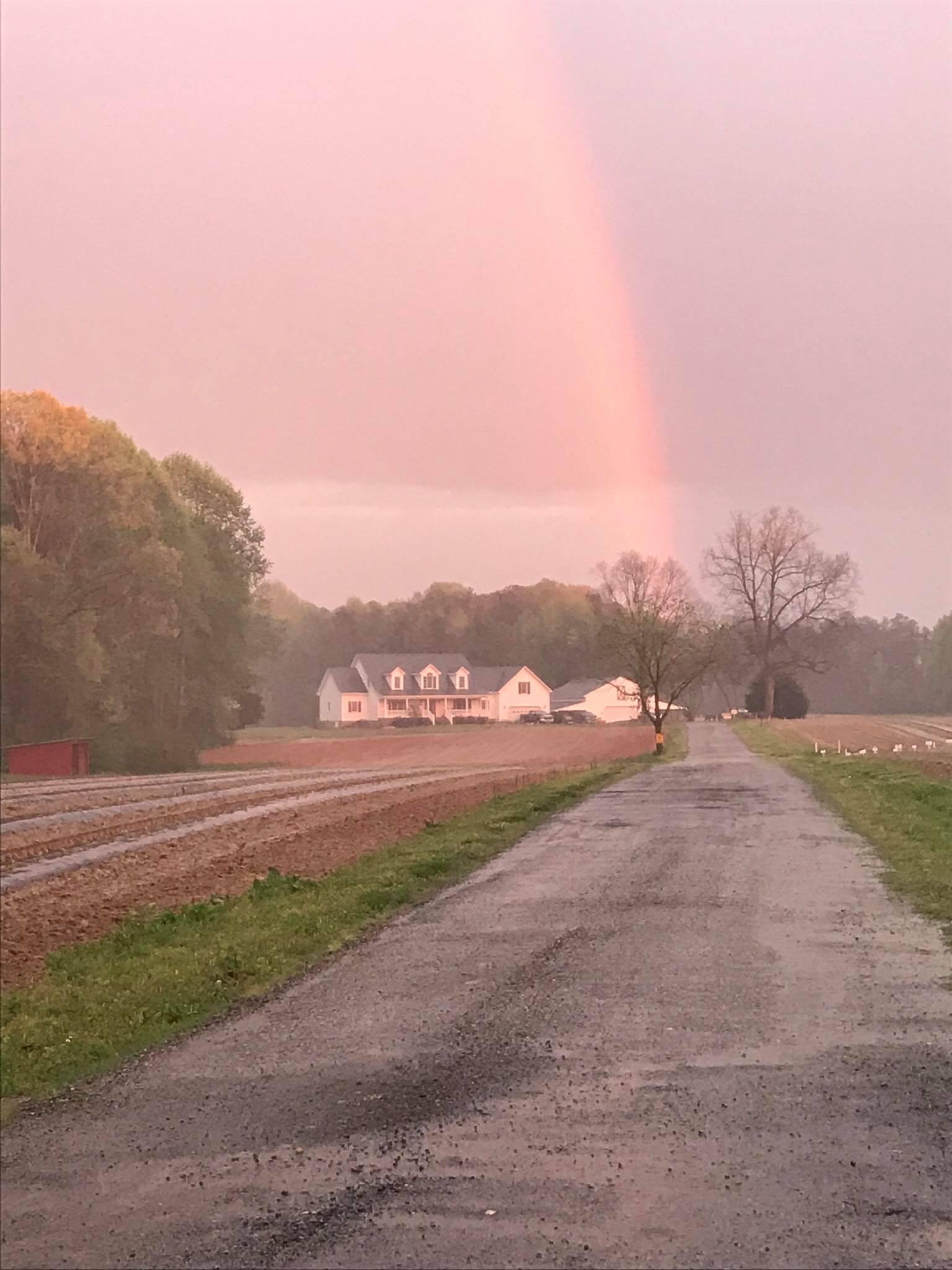 KelRae farm with a rainbow overtop